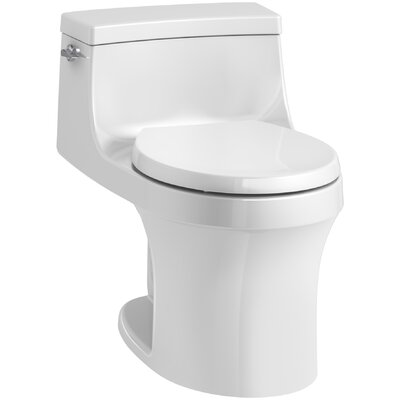 San Souci 1 Piece Round-Front 1.28 GPF Toilet with Aquapiston Flushing Technology Finish: White