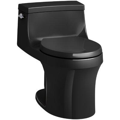 San Souci 1 Piece Round-Front 1.28 GPF Toilet with Aquapiston Flushing Technology Finish: Black Black