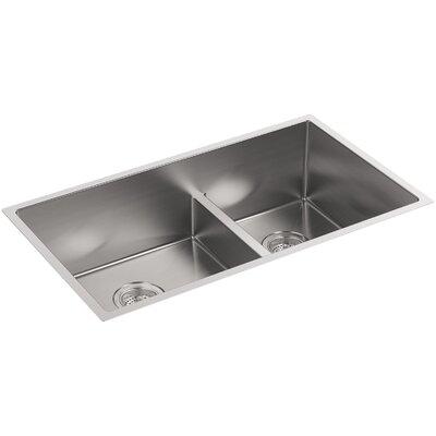 Strive 32 x 18-5/16 x 9-5/16 Smart Divide Under-Mount Large/Medium Double-Bowl Kitchen Sink with Basin Rack