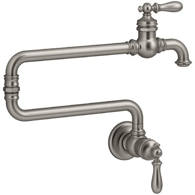 Artifacts(R) Single-Hole Wall-Mount Pot Filler Kitchen Sink Faucet with 22 Extended Spout Finish: Vibrant Stainless