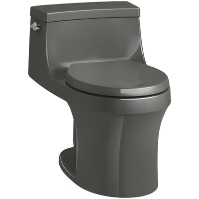 San Souci 1 Piece Round-Front 1.28 GPF Toilet with Aquapiston Flushing Technology Finish: Thunder Grey