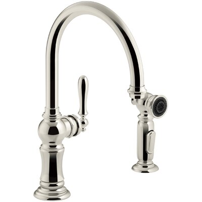Artifacts 2-Hole Kitchen Sink Faucet with Swing Spout Finish: Vibrant Polished Nickel
