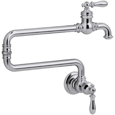 Artifacts(R) Single-Hole Wall-Mount Pot Filler Kitchen Sink Faucet with 22 Extended Spout Finish: Polished Chrome