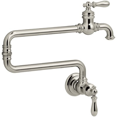 Artifacts(R) Single-Hole Wall-Mount Pot Filler Kitchen Sink Faucet with 22 Extended Spout Finish: Vibrant Polished Nickel