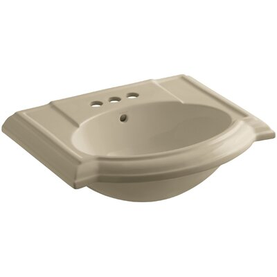 Devonshire� Ceramic 24 Pedestal Bathroom Sink with Overflow Finish: Mexican Sand