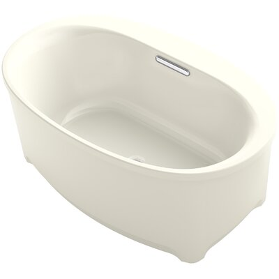 Underscore Oval Freestanding VibrAcoustic Bath with Bask Heated Surface Finish: Biscuit