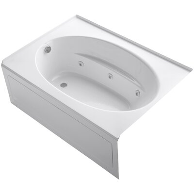 Windward Alcove 60 x 42 Whirpool Bathtub Finish: White, Drain Location: Left