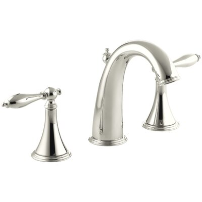 Finial Traditional Widespread Bathroom Sink Faucet with Lever Handles Finish: Vibrant Polished Nickel