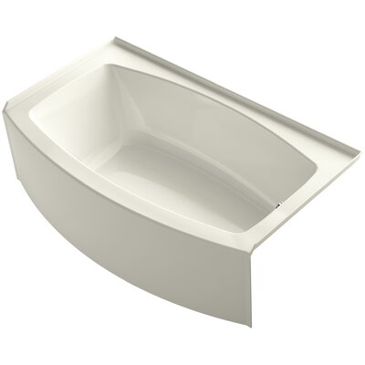 Expanse Curved 60 x 30-36 Soaking Bathtub Finish: Biscuit, Drain Location: Right
