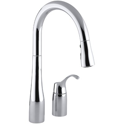 Simplice Two-Hole Kitchen Sink Faucet with 16-1/8 Pull-Down Swing Spout, Docknetik Magnetic Docking System, and A 3-Function Sprayhead Featuring The New Sweep Spray Finish: Polished Chrome