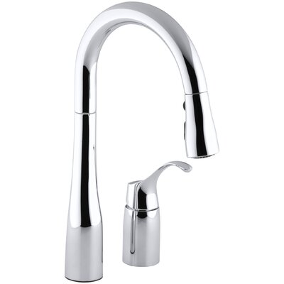 Simplice Two-Hole Kitchen Sink Faucet with 14-3/4 Pull-Down Swing Spout, Docknetik Magnetic Docking System, and A 3-Function Sprayhead Featuring The New Sweep Spray Finish: Polished Chrome