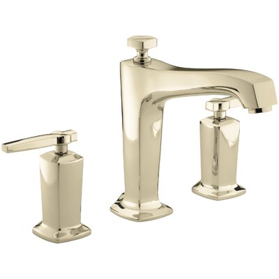 Margaux Deck-Mount Bath Faucet Trim for High-Flow Valve with Diverter Spout and Lever Handles, Valve Not Included Finish: Vibrant French Gold