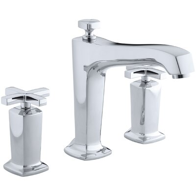 Margaux Deck-Mount Bath Faucet Trim for High-Flow Valve with Non-Diverter Spout and Cross Handles, Valve Not Included Finish: Polished Chrome