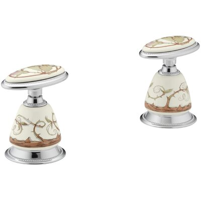 Briar Rose Design On Antiqueceramic Handle Insets for Bath Faucets