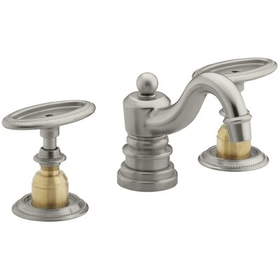 Antique Widespread Bathroom Sink Faucet with Oval Handles, Requires Ceramic Handle Insets and Skirts Finish: Vibrant Brushed Nickel