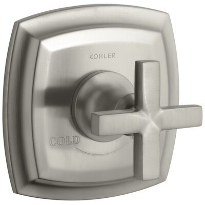 Margaux Valve Trim with Cross Handle for Thermostatic Valve, Requires Valve Finish: Vibrant Brushed Nickel K-T16239-3-BN