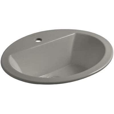Bryant Ceramic Oval Drop-In Bathroom Sink with Overflow Finish: Cashmere, Faucet Hole Style: 4 Centerset