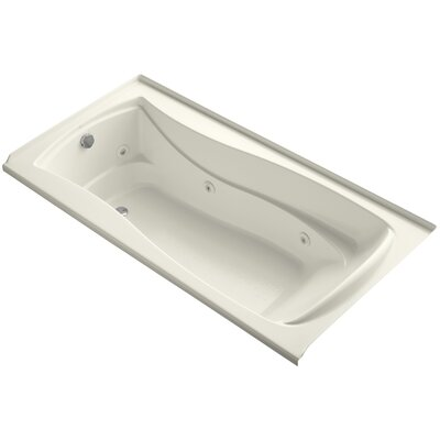 Mariposa Alcove 72 x 36 Whirpool Bathtub Finish: Biscuit, Drain Location: Left