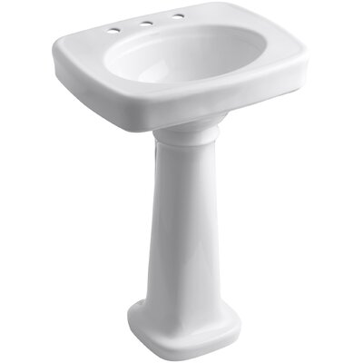 Bancroft 23 Pedestal Bathroom Sink Finish: White, Faucet Hole Style: 8 Widespread