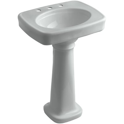 Bancroft� Ceramic 24 Pedestal Bathroom Sink Finish: Ice Grey, Faucet Hole Style: 8 Widespread