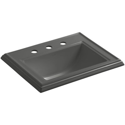 Memoirs� Ceramic Rectangular Drop-In Bathroom Sink with Overflow Finish: Thunder Grey, Faucet Hole Style: 4 Centerset