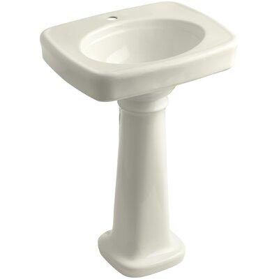 Bancroft� Ceramic 24 Pedestal Bathroom Sink Finish: Biscuit, Faucet Hole Style: Single