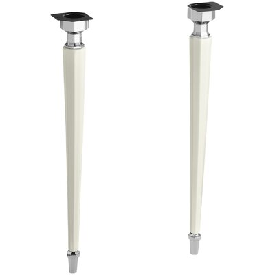Kathryn Octagonal Fireclay/Polished Chrome Tapered Brass Table Legs Finish: Biscuit