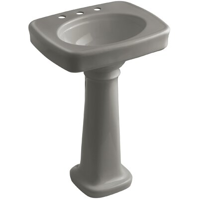 Bancroft� Ceramic 24 Pedestal Bathroom Sink Finish: Cashmere, Faucet Hole Style: 8 Widespread