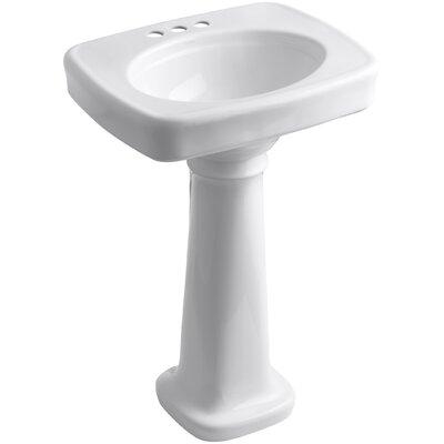 Bancroft� Ceramic 24 Pedestal Bathroom Sink Finish: White, Faucet Hole Style: 4 Centerset
