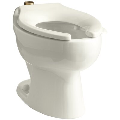 Wellcomme 1.6 GPF Flushometer Valve Elongated Toilet Bowl with Top Inlet and Bedpan Lugs, Requires Seat Finish: Biscuit