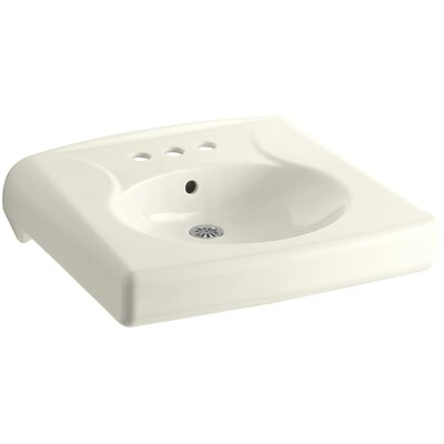 Brenham 22 Wall Mount Bathroom Sink Finish: Biscuit, Faucet Hole Style: 8 Widespread