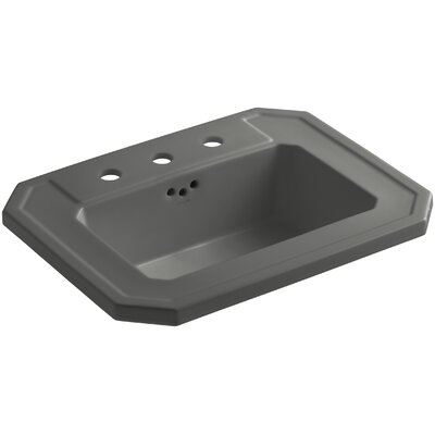 Kathryn� Ceramic Rectangular Drop-In Bathroom Sink with Overflow Finish: Thunder Grey