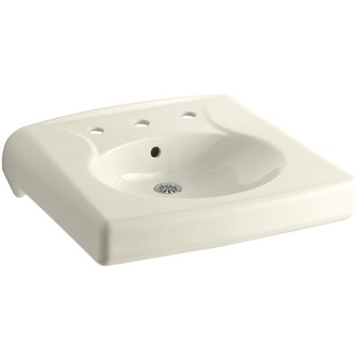 Brenham Ceramic 22 Wall Mount Bathroom Sink with Overflow Finish: Almond, Faucet Hole Style: 8 Widespread