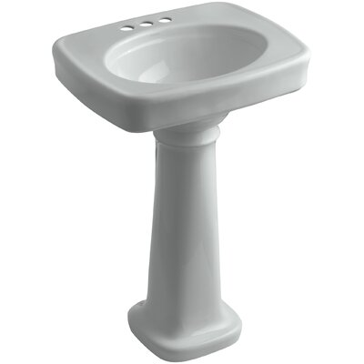 Bancroft� Ceramic 24 Pedestal Bathroom Sink Finish: Ice Grey, Faucet Hole Style: 4 Centerset