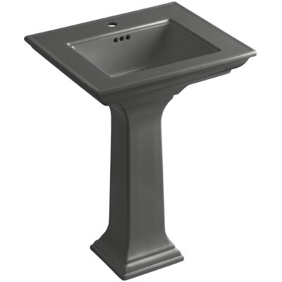 Memoirs� Ceramic 25 Pedestal Bathroom Sink with Overflow Finish: Thunder Grey, Faucet Hole Style: Single