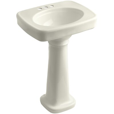 Bancroft� Ceramic 24 Pedestal Bathroom Sink Finish: Biscuit, Faucet Hole Style: 4 Centerset