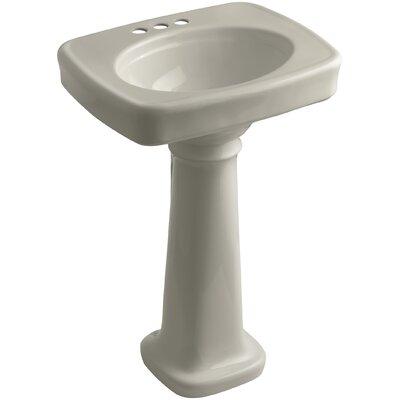 Bancroft� Ceramic 24 Pedestal Bathroom Sink Finish: Sandbar, Faucet Hole Style: 4 Centerset