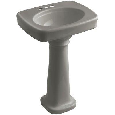 Bancroft� Ceramic 24 Pedestal Bathroom Sink Finish: Cashmere, Faucet Hole Style: 4 Centerset