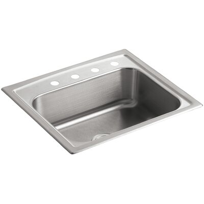 Toccata 25 x 22 x 7-11/16 Top-Mount Single-Bowl Kitchen Sink with 4 Faucet Holes