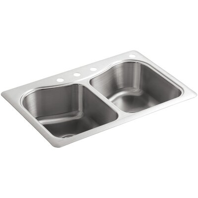 Staccato 33 x 22 x 8-5/16 Top-Mount Double-Equal Bowl Kitchen Sink with 4 Faucet Holes
