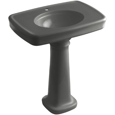 Bancroft� Ceramic 31 Pedestal Bathroom Sink with Overflow Finish: Thunder Grey, Faucet Hole Style: 8 Widespread
