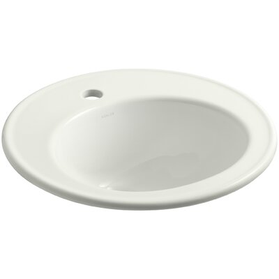 Brookline Ceramic Circular Drop-In Bathroom Sink with Overflow Finish: Dune, Faucet Hole Style: 8 Widespread