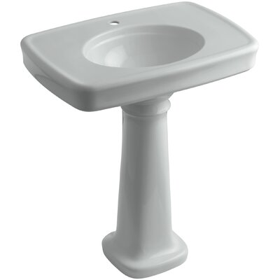 Bancroft� Ceramic 31 Pedestal Bathroom Sink with Overflow Finish: Ice Grey, Faucet Hole Style: Single