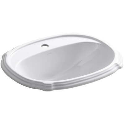 Portrait Self Rimming Bathroom Sink 8 Finish: White, Faucet Hole Style: 4 Centerset