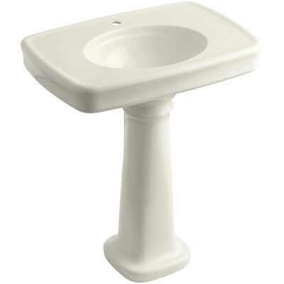 Bancroft� Ceramic 31 Pedestal Bathroom Sink with Overflow Finish: Biscuit, Faucet Hole Style: Single