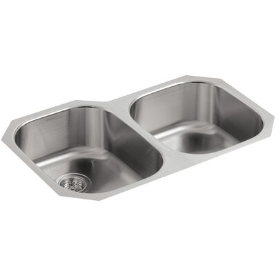 Undertone 31-1/2 x 20-7/8 x 7-5/8 Under-Mount Large/Medium Rounded Double-Bowl Kitchen Sink with Medium Bowl On The Right