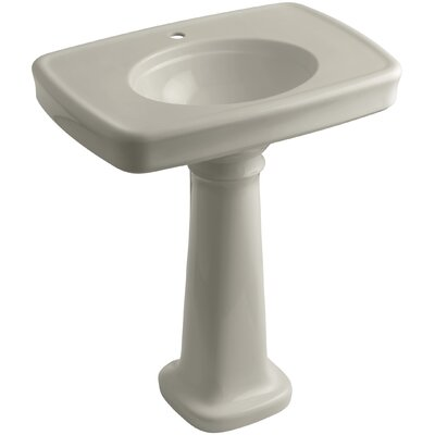 Bancroft� Ceramic 31 Pedestal Bathroom Sink with Overflow Finish: Sandbar, Faucet Hole Style: Single