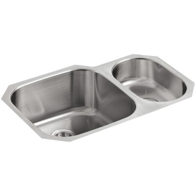 Undertone 30-3/4 x 20-1/8 x 9-5/8 Under-Mount High/Low Double Rounded Bowl Kitchen Sink