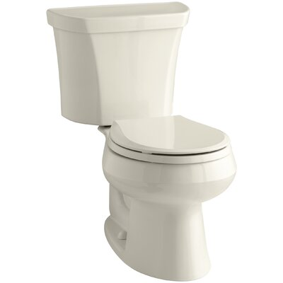Wellworth Wellworth Two-Piece Round-Front Dual-Flush Toilet with Class Five Flush Technology and Right-Hand Trip Lever Finish: Almond