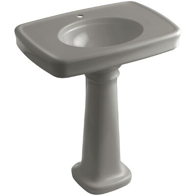 Bancroft� Ceramic 31 Pedestal Bathroom Sink with Overflow Finish: Cashmere, Faucet Hole Style: Single